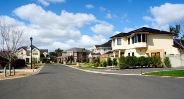 Modern custom built homes in a residential neighborhood